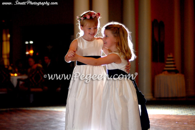 Ivory and navy flower girl dresses
