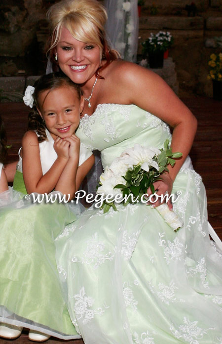 White and Apple green silk flower girl dress