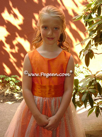 Oange and tangerine and Gold flower girl dress