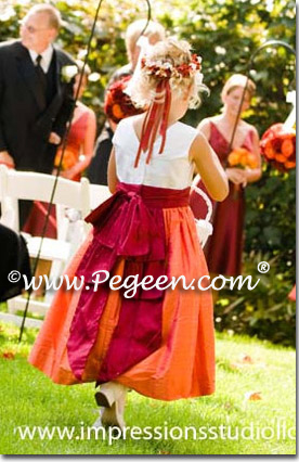 mango and beauty red flower girl dresses