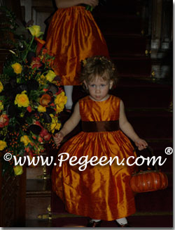 Pumpkin and brown silk toddler flower girl dresses by Pegeen