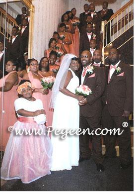 Coral rose plus size jr bridesmaids dress