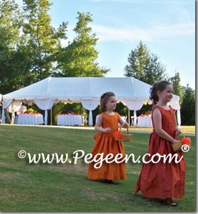 Autumn and orange colored flower girl dresses