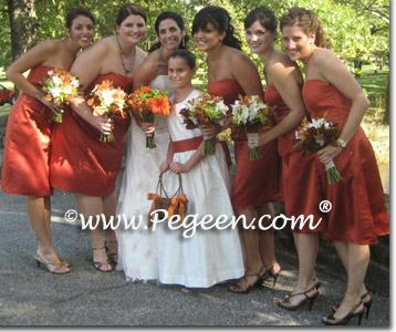 Bisque and Autumn custom Silk Flower Girl Dresses | Pegeen