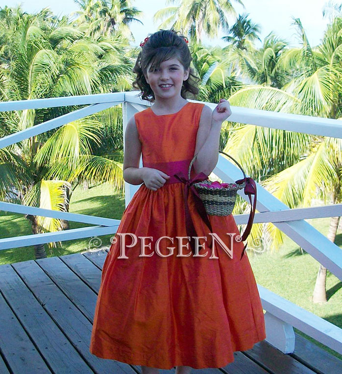 Raspberry & orange silk junior bridesmaids dress