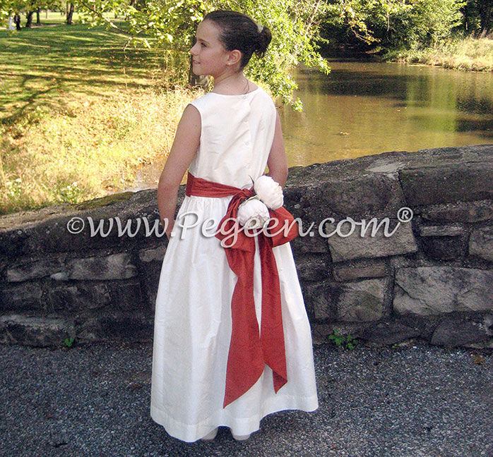Bisque and autumn orange flower girl dress style 398