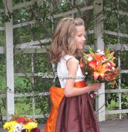 Orange and chocolate brown silk flower girl dresses