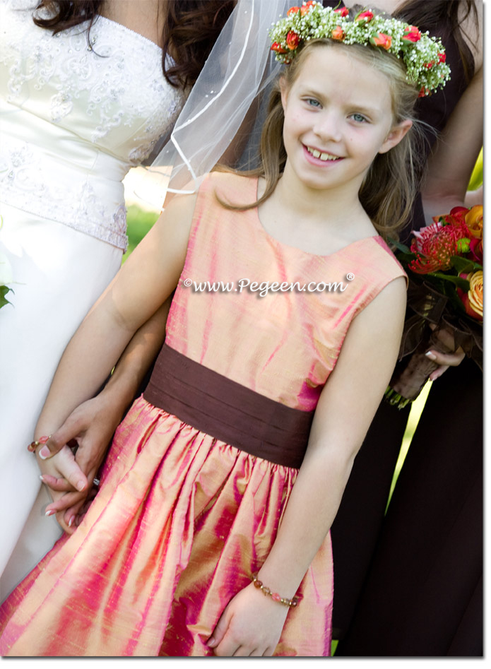 Flower Girl Dress in Grapefruit gold and Chocolate Brown | Pegeen