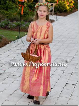 Grapefruit silk junior bridesmaids dress to match Jim Hjelm