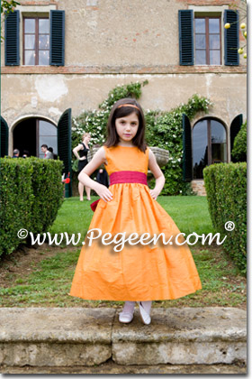 Orange and raspberry flower girl dresses