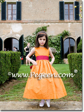 Orange and cranberry red flower girl dress, Tuscany Italy