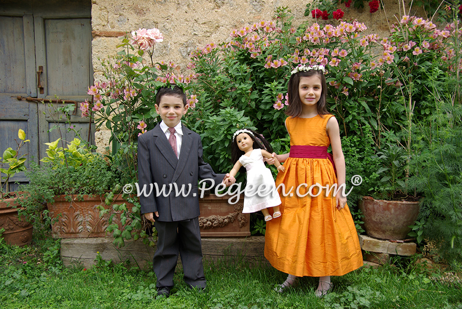 Orange and Beauty Red flower girl dresses