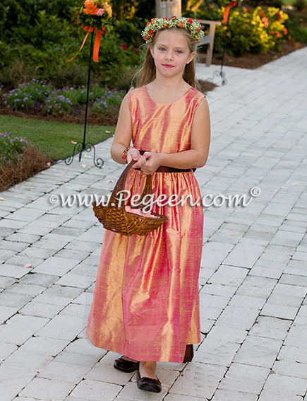 Brown & grapefruit silk junior bridesmaids dress