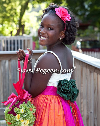 Orange and hot pink Jr. Bridesmaids Dress