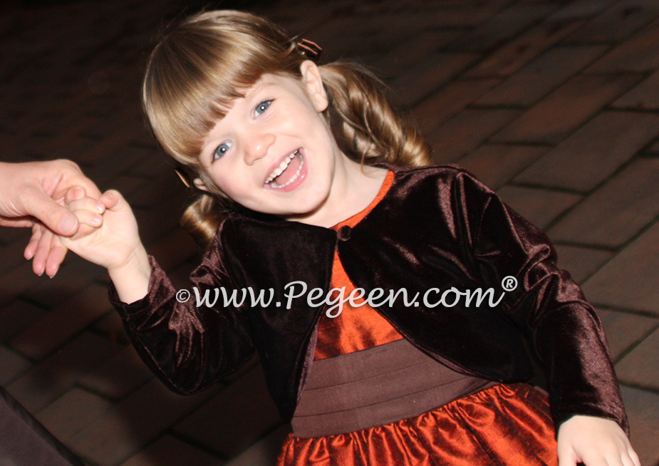 Mountain Fall Copper and chocolate silk flower girl dresses