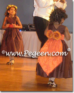 Chocolate brown and orange flower girl dresses