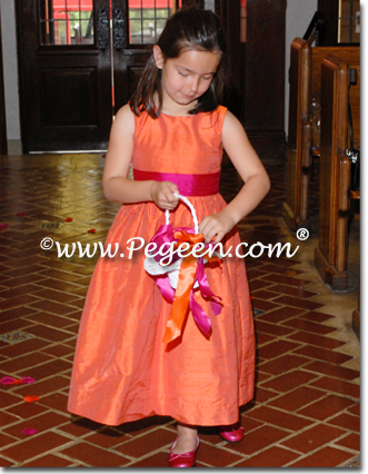 orange and sorbet pink flower girl dresses