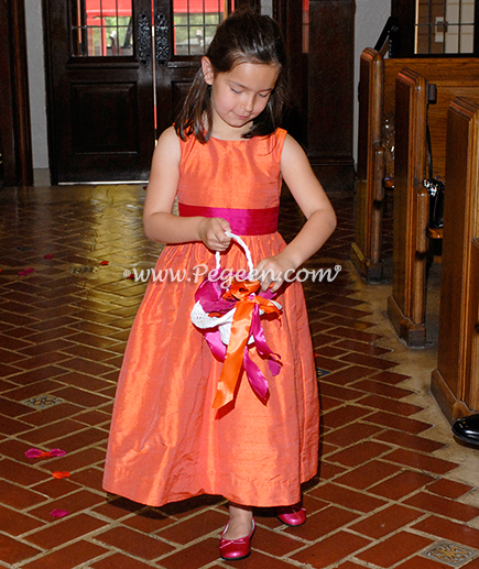 Sorbet Pink and Orange custom silk flower girl dress