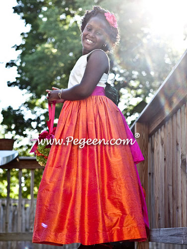 Hot Pink and Mango Orange Silk and Tulle Flower Girl Dress Pegeen Style 424