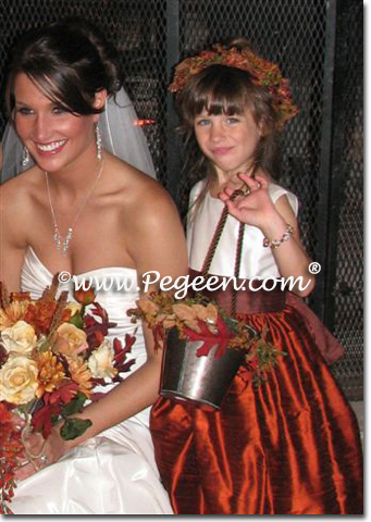 mountain fall and chocolate vest and  flower girl dresses