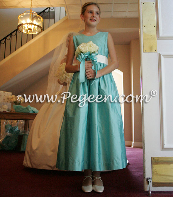 tiffany blue junior bridesmaids dress
