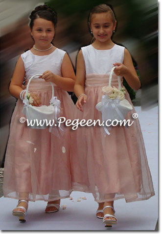 Pink and ivory organza junior bridesmaids dresses or flower girl dresses Style 355
