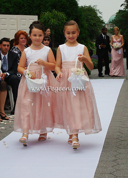 Rum pink and white sequins custom silk flower girl dresses