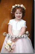 Pink and creme silk designer flower girl dresses by Pegeen.com
