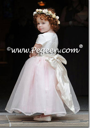 Pink flower girl dresses with pink organza Style 359