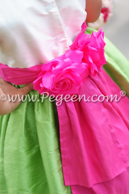 Apple green and hot shock pink Silk flower girl dresses - Pegeen Classics Style 383