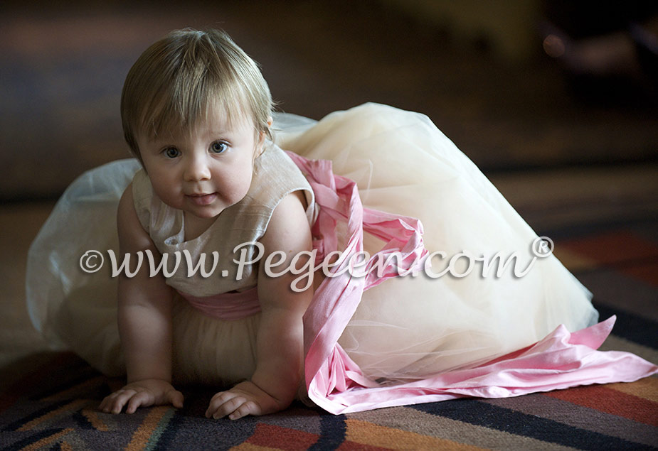 Pink Silk flower girl dress in ivory silk, bubblegum silk sash, ivory tulle