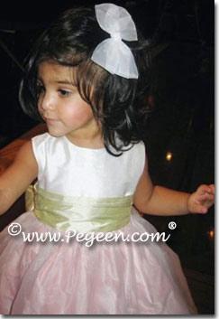 Pink, green and white silk infant flower girl dresses