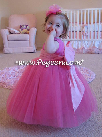 Pink tulle flower girl dress for 1st brithday