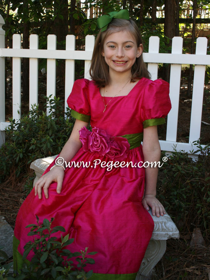 Raspberry pink and grass green silk girl's Easter dress