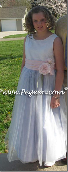 Pink blue and white tulle dress for Easter or Jr Bridesmaid
