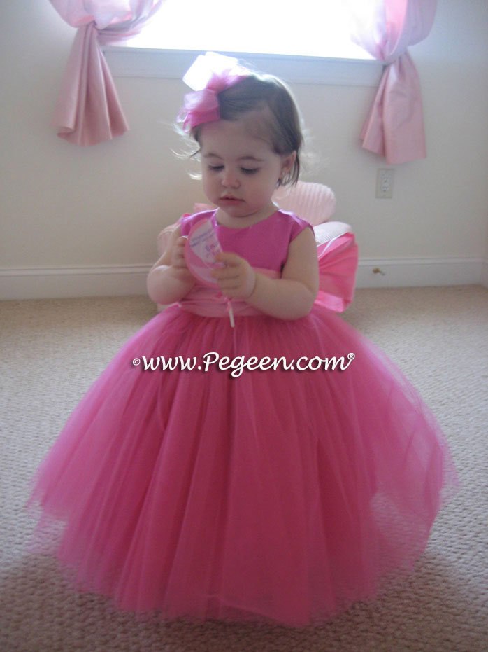 Cerise And Peony Pink Tulle Ballerina Style Flower Girl
