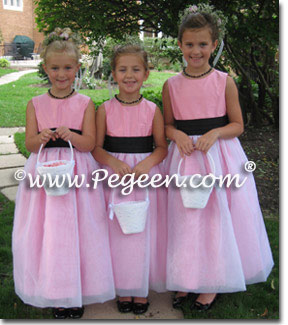 Black and Pink flower girl dresses Style 326