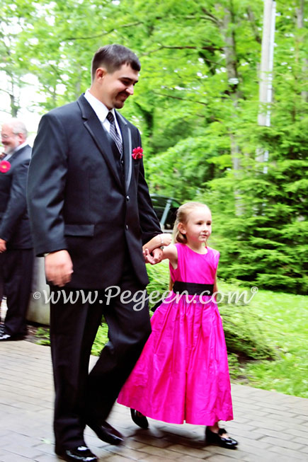 Hot pink flamingo and black flower girl dress