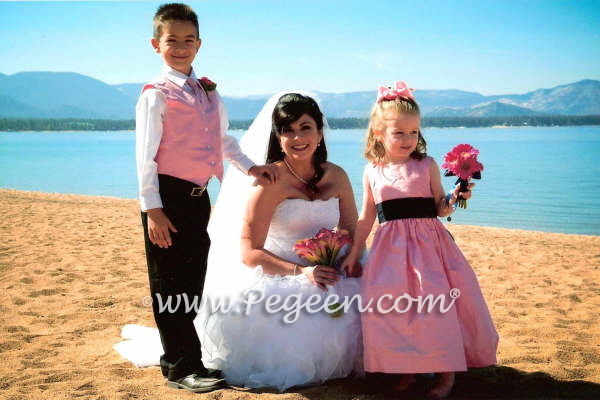 Bubble gum pink and black ringbearers and flower girl dresses