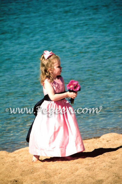 Pink and Navy silk flower girl dress at Lake Tahoe