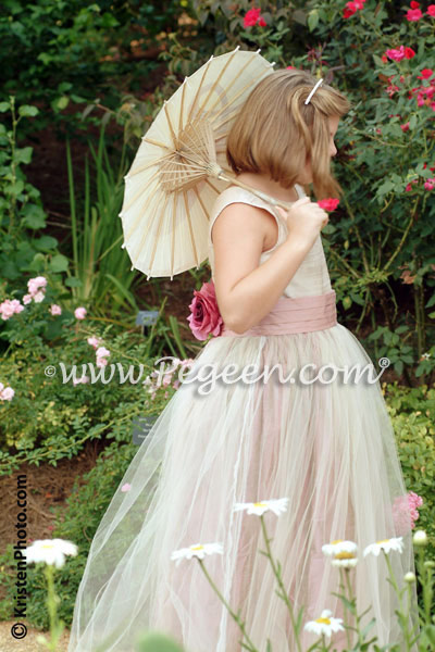 Lotus rum pink silk junior bridesmaid dress in silk and tulle