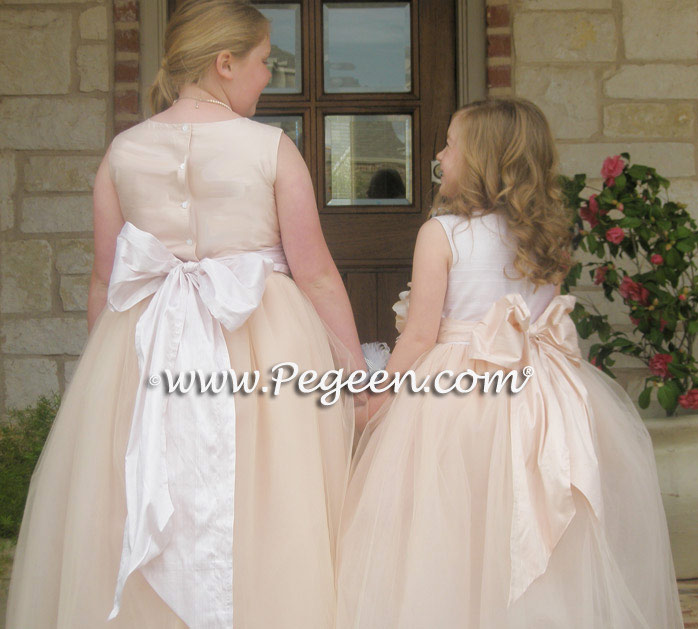 PINK TULLE COTILLION and FLOWER GIRL DRESSES Style 402