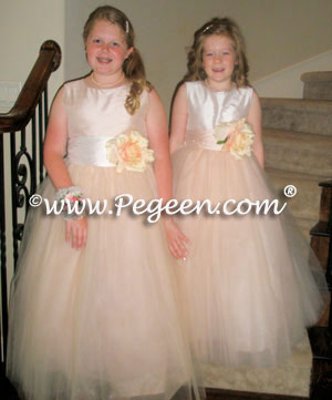 Flower Girl Dresses with layers of tulle in Blush and Peach Silk  | Pegeen