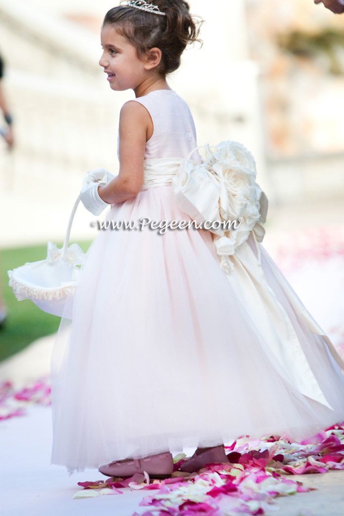 Pegeen's ice pink and petal pink Tulle FLOWER GIRL DRESSES with 10 layers of tulle