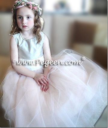 Pink and silver pastel and ivory ballerina flower girl dress