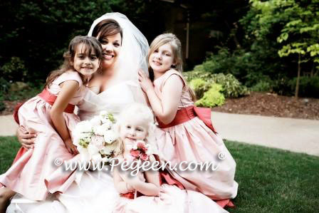 Guava and salmon matching Siri flower girl dresses Style 345