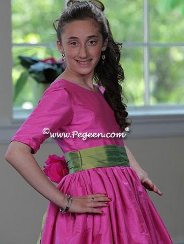Hot pink and lime bat Mitzvah or jr bridesmaids dress