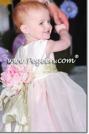 PINK SILK iNFANT AND TODDLER FLOWER GIRL DRESSES