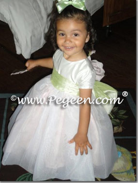 pink and green infant flower girl dress