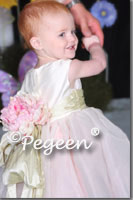 Pink and green and white silk infant flower girl dresses